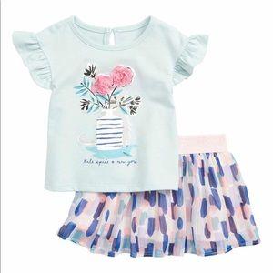 Kate Spade Flower Cat Shirt & Skirt Set